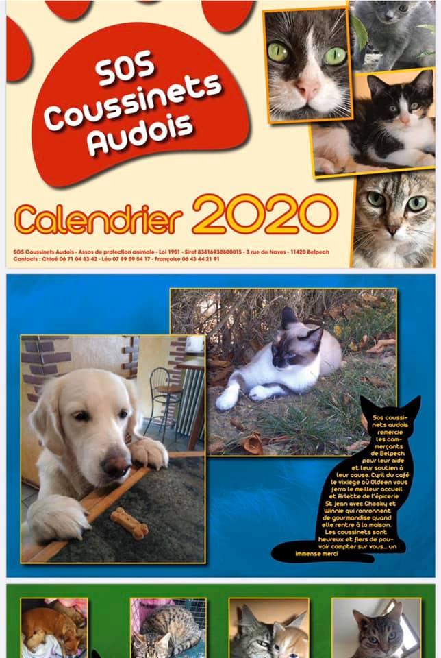 Photo du calendrier 2020 de l'association SOS Coussinets Audois